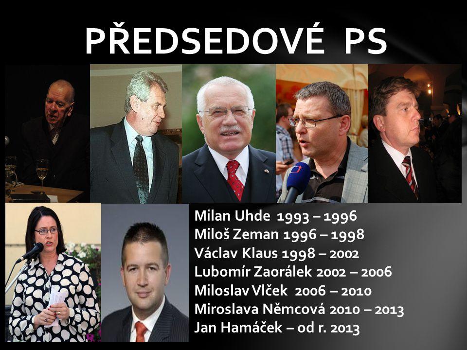 PŘEDSEDOVÉ PS Milan Uhde 1993 – 1996 Miloš Zeman 1996 – 1998 Václav Klaus 1998 – 2002 Lubomír Zaorálek 2002 – 2006 Miloslav Vlček 2006 – 2010 Miroslav