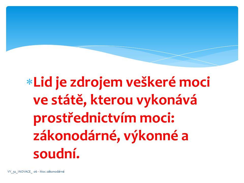  Moc zákonodárná je představována voleným parlamentem. VY_32_INOVACE_ 06 - Moc zákonodárná