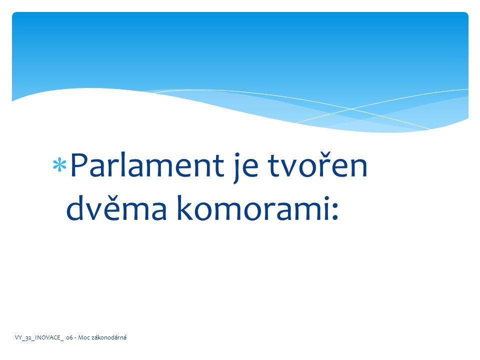  Parlament je tvořen dvěma komorami: VY_32_INOVACE_ 06 - Moc zákonodárná