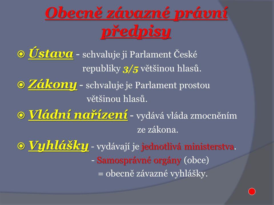 Obecně závazné právní předpisy  Ústava  Ústava - schvaluje ji Parlament České republiky 3/5 většinou hlasů.