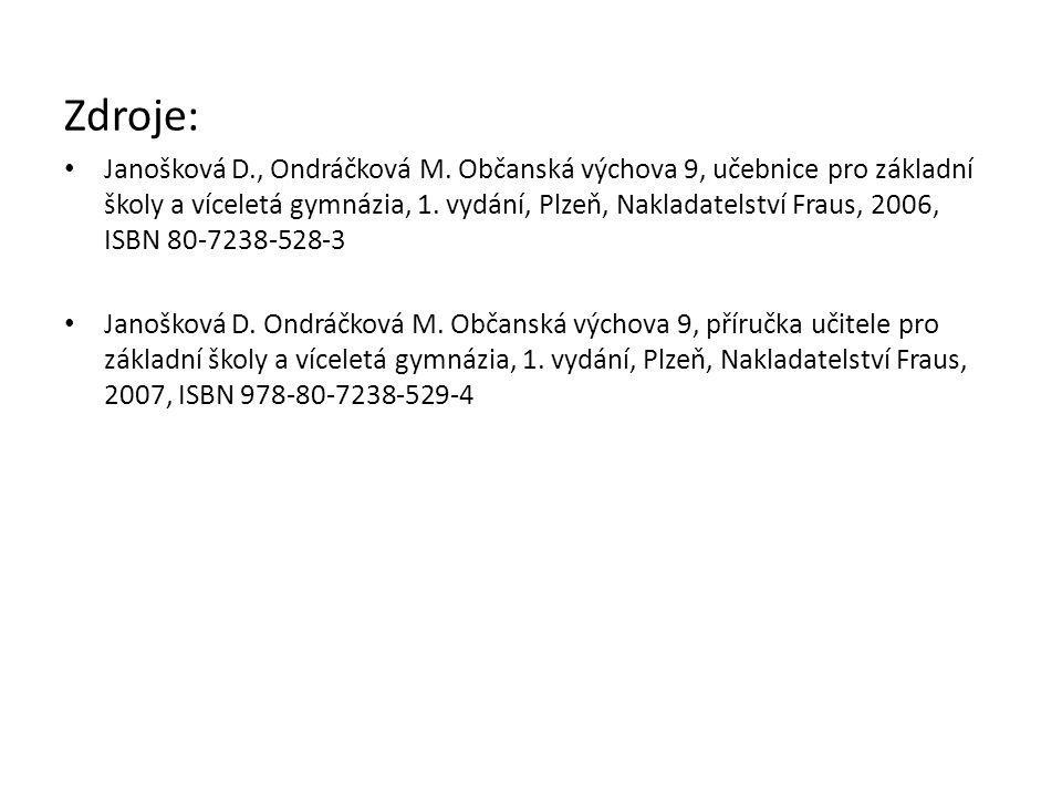 Zdroje: Janošková D., Ondráčková M. Občanská výchova 9, učebnice pro základní školy a víceletá gymnázia, 1. vydání, Plzeň, Nakladatelství Fraus, 2006,