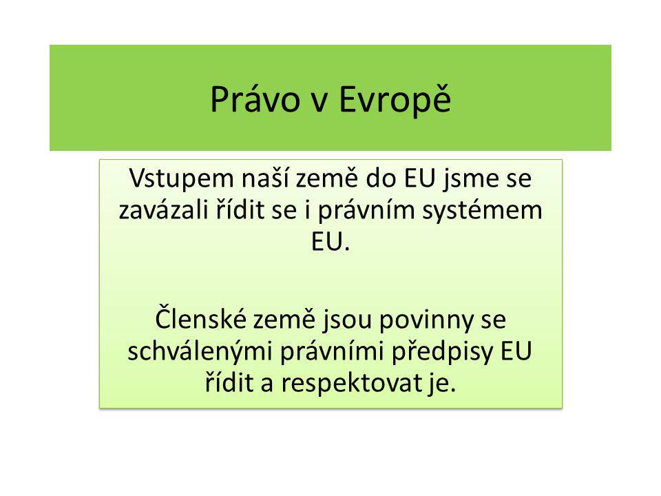 Právo v Evropě Vstupem naší země do EU jsme se zavázali řídit se i právním systémem EU. Členské země jsou povinny se schválenými právními předpisy EU