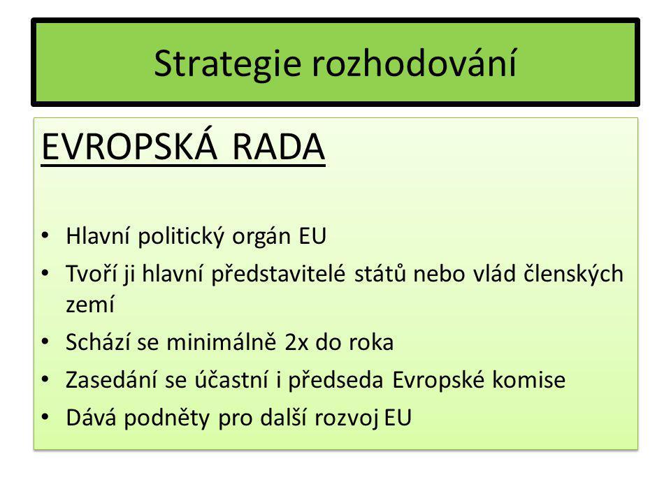 Strategie rozhodování EVROPSKÁ RADA Hlavní politický orgán EU Tvoří ji hlavní představitelé států nebo vlád členských zemí Schází se minimálně 2x do r