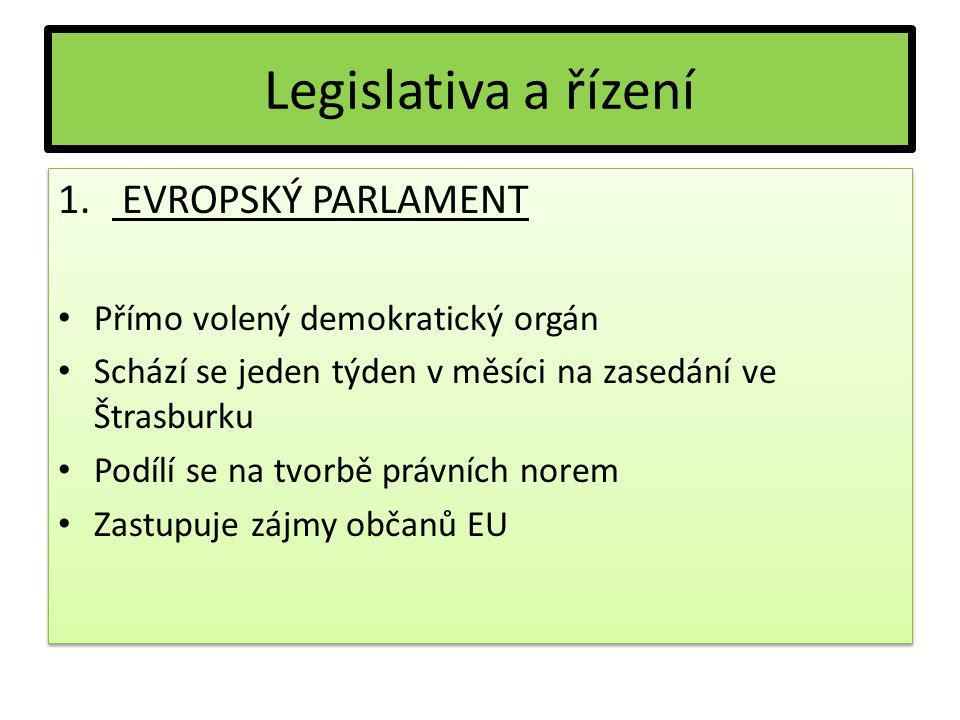 Legislativa a řízení 1. EVROPSKÝ PARLAMENT Přímo volený demokratický orgán Schází se jeden týden v měsíci na zasedání ve Štrasburku Podílí se na tvorb