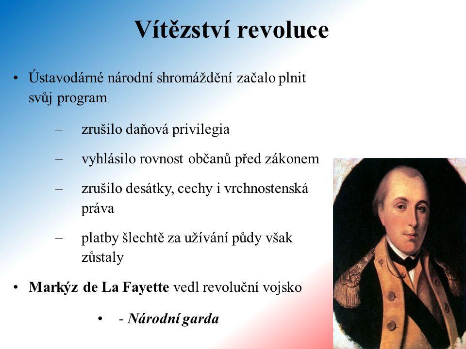 kontrarevoluční šlechta utekla ze země na venkově rolníci útočili na feudály, plenili zámky a odmítli platit poddanské dávky nová ústava z roku 1791 vycházející z Deklarace práv člověka a občana (26.