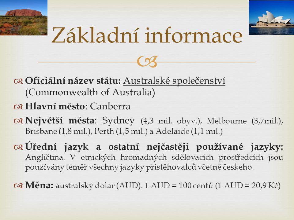   Oficiální název státu: Australské společenství (Commonwealth of Australia)  Hlavní město : Canberra  Největší města : Sydney (4,3 mil. obyv.), M