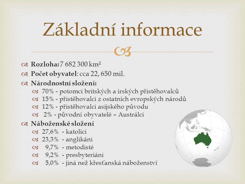   Rozloha: 7 682 300 km²  Počet obyvatel : cca 22, 650 mil.  Národnostní složení:  70% - potomci britských a irských přistěhovalců  15% - přistě