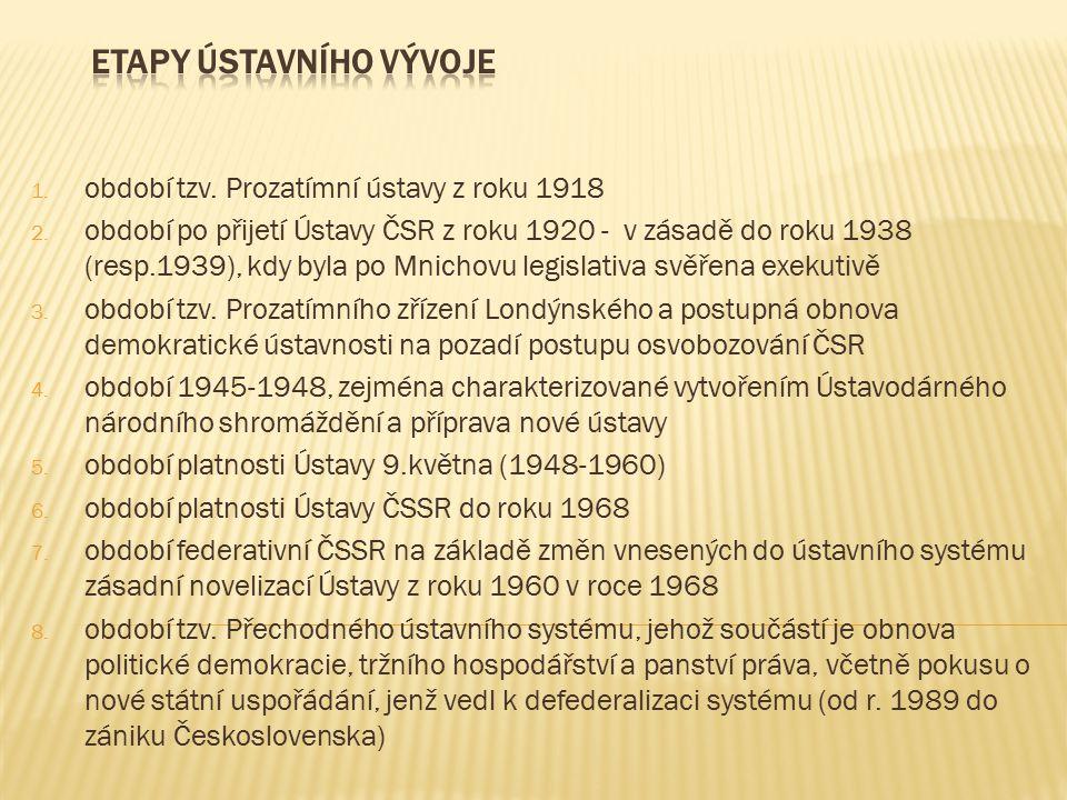 1.období tzv. Prozatímní ústavy z roku 1918 2.