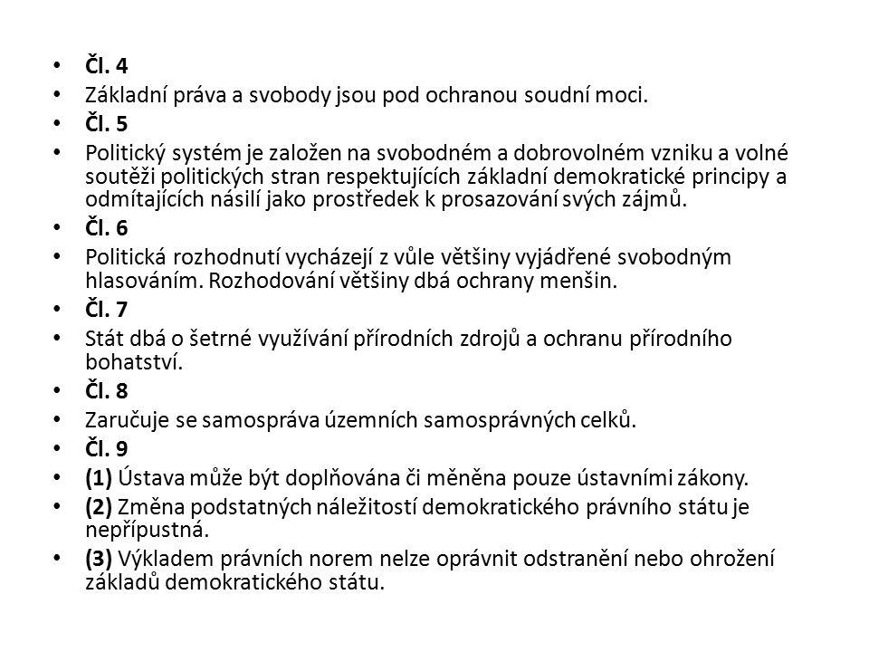 Čl. 4 Základní práva a svobody jsou pod ochranou soudní moci. Čl. 5 Politický systém je založen na svobodném a dobrovolném vzniku a volné soutěži poli