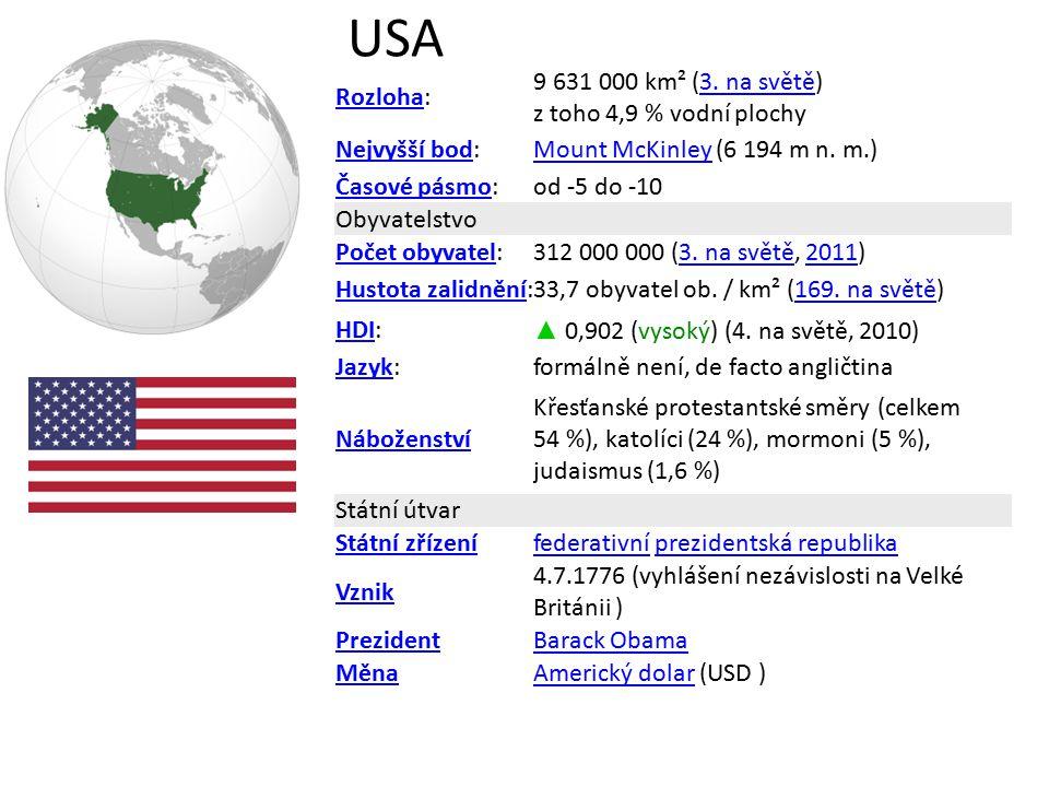 USA RozlohaRozloha: 9 631 000 km² (3. na světě) z toho 4,9 % vodní plochy3. na světě Nejvyšší bodNejvyšší bod:Mount McKinleyMount McKinley (6 194 m n.