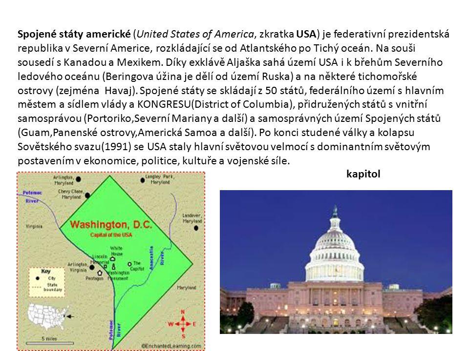 Spojené státy americké (United States of America, zkratka USA) je federativní prezidentská republika v Severní Americe, rozkládající se od Atlantského