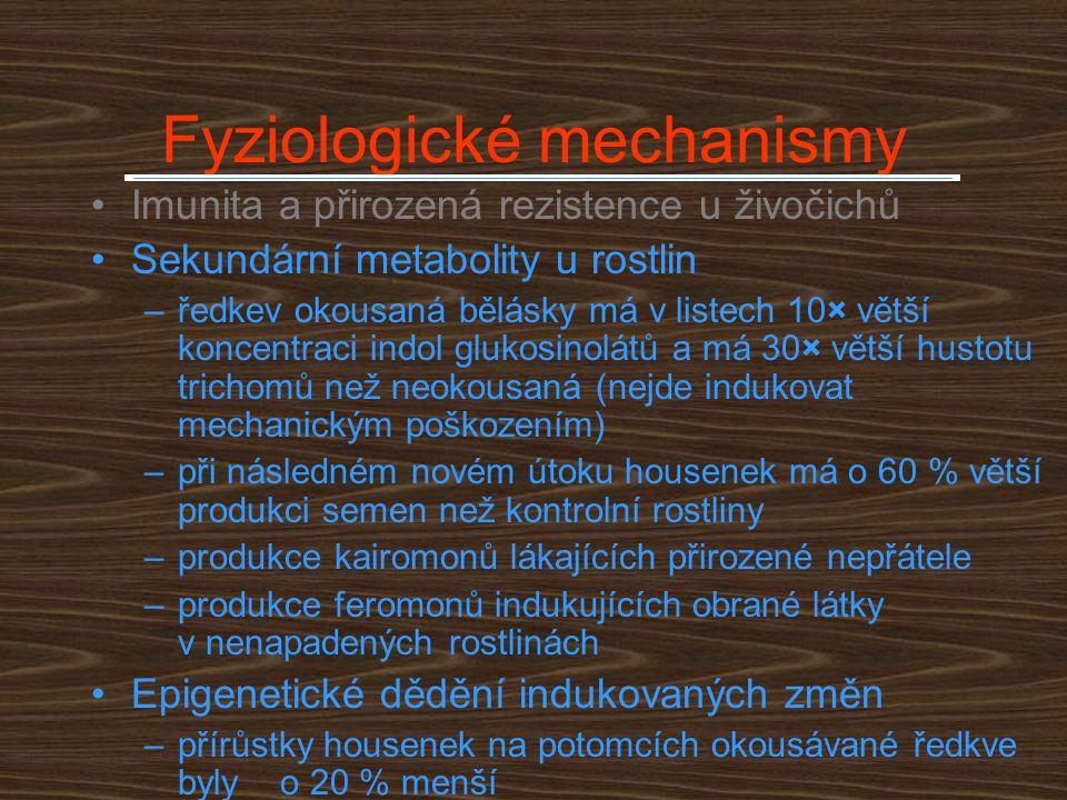 Fyziologické mechanismy Imunita a přirozená rezistence u živočichů Sekundární metabolity u rostlin –ředkev okousaná bělásky má v listech 10× větší kon