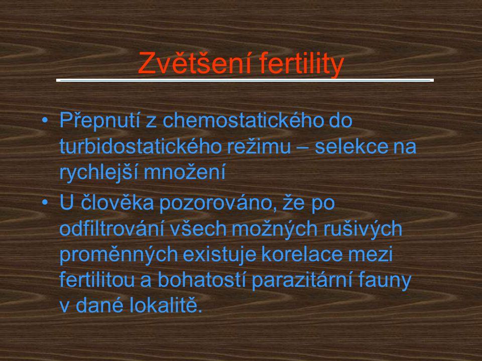 Zvětšení fertility Přepnutí z chemostatického do turbidostatického režimu – selekce na rychlejší množení U člověka pozorováno, že po odfiltrování všec
