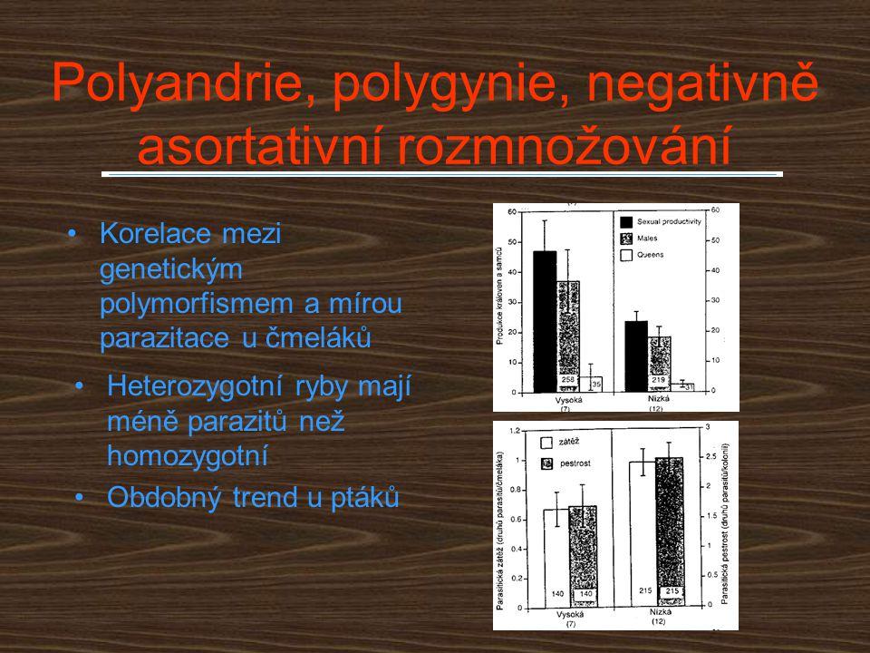 Polyandrie, polygynie, negativně asortativní rozmnožování Korelace mezi genetickým polymorfismem a mírou parazitace u čmeláků Heterozygotní ryby mají