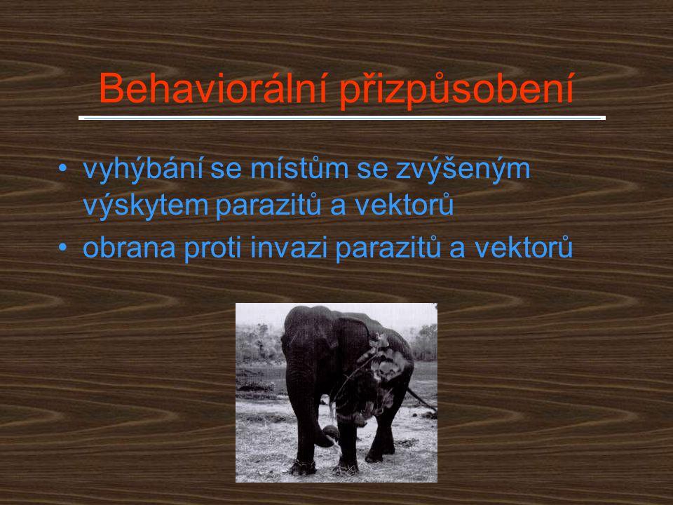Behaviorální přizpůsobení vyhýbání se místům se zvýšeným výskytem parazitů a vektorů obrana proti invazi parazitů a vektorů
