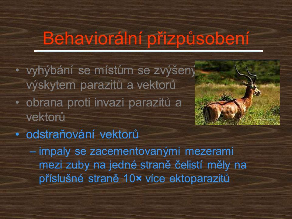 Fyziologické mechanismy Imunita a přirozená rezistence u živočichů –mnohdy se uplatňuje princip něco za něco (trade offs) – větší infekce motolicemi u kojících ovcí tlustorohých Ovis canadensis –umělé zvětšení snůšky u lejska, koňadry a vlašťovky je provázeno zvýšením parazitovanosti