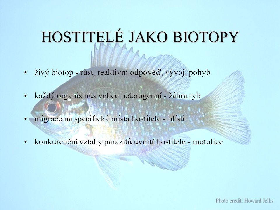 HOSTITELÉJAKOBIOTOPY HOSTITELÉ JAKO BIOTOPY živý biotop - růst, reaktivní odpověď, vývoj, pohyb každý organismus velice heterogenní - žábra ryb migrac