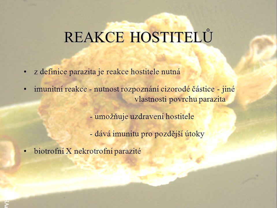 REAKCEHOSTITELŮ REAKCE HOSTITELŮ z definice parazita je reakce hostitele nutná imunitní reakce - nutnost rozpoznání cizorodé částice - jiné vlastnosti