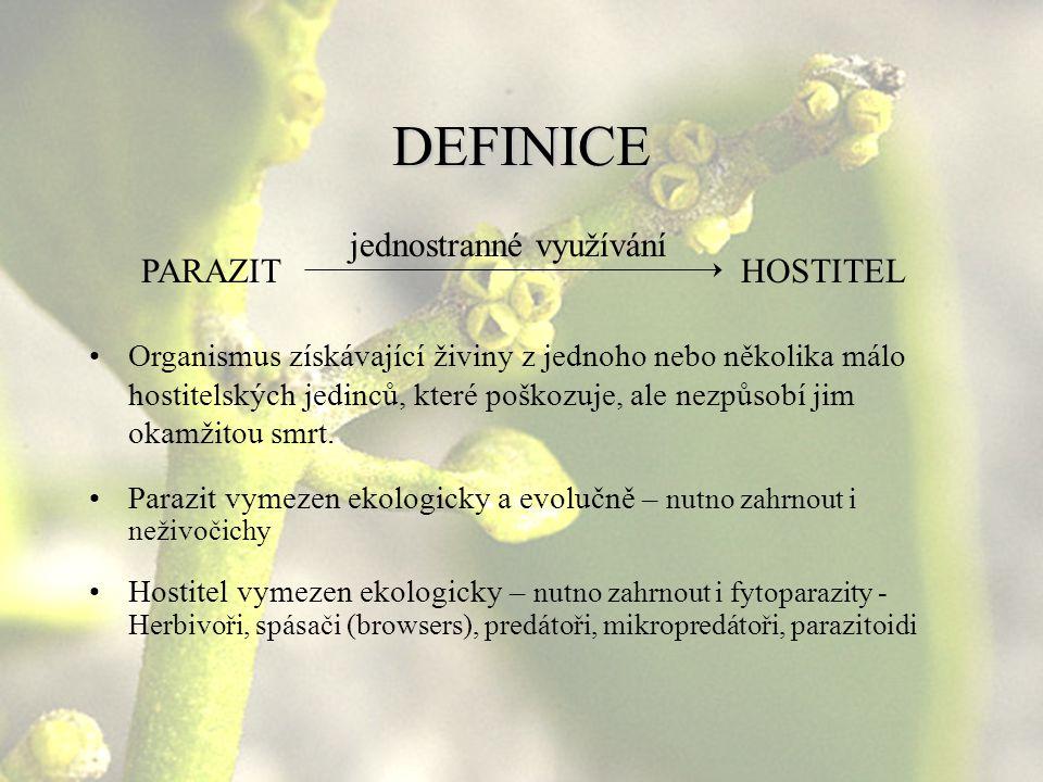 DEFINICE PARAZIT jednostranné využívání HOSTITEL Organismus získávající živiny z jednoho nebo několika málo hostitelských jedinců, které poškozuje, al
