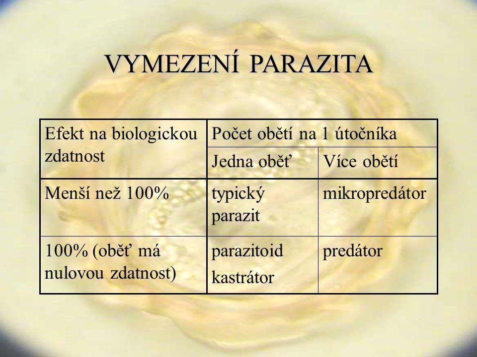 VYMEZENÍPARAZITA VYMEZENÍ PARAZITA Počet obětí na 1 útočníka predátorparazitoid kastrátor 100% (oběť má nulovou zdatnost) mikropredátortypický parazit