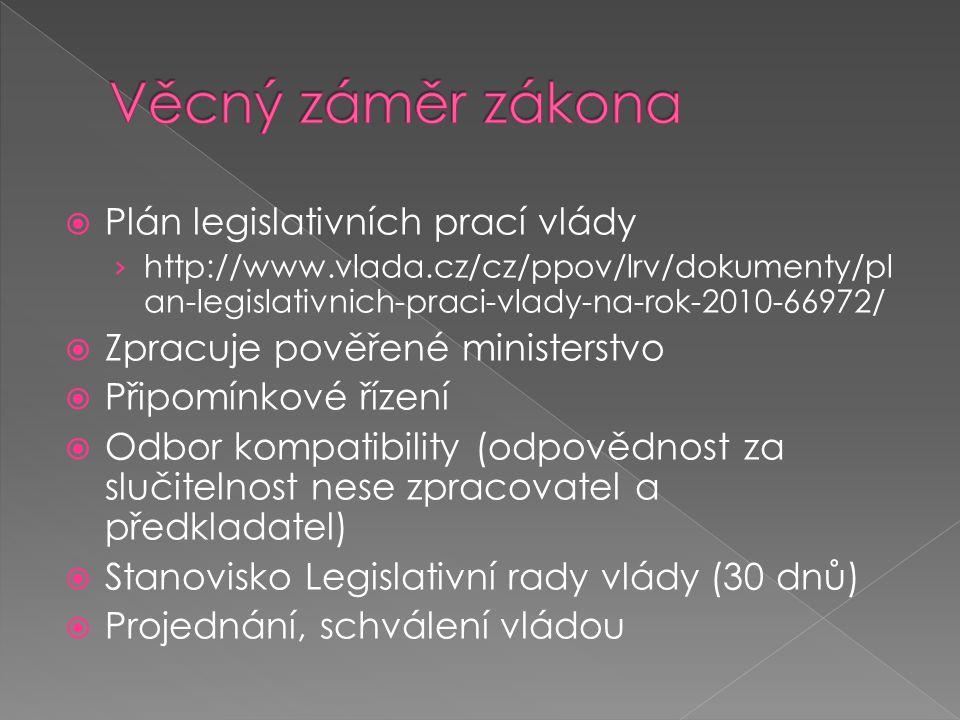  Plán legislativních prací vlády › http://www.vlada.cz/cz/ppov/lrv/dokumenty/pl an-legislativnich-praci-vlady-na-rok-2010-66972/  Zpracuje pověřené
