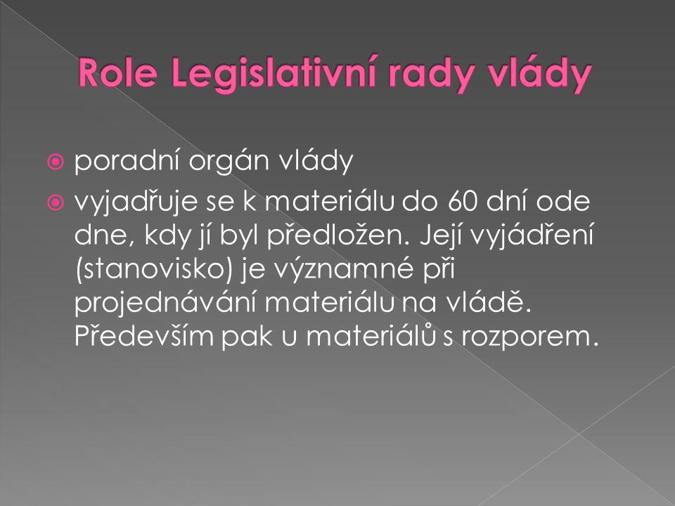  poradní orgán vlády  vyjadřuje se k materiálu do 60 dní ode dne, kdy jí byl předložen. Její vyjádření (stanovisko) je významné při projednávání mat