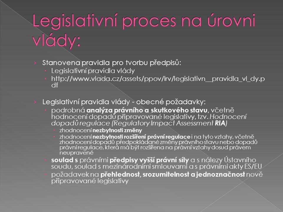 › Stanovena pravidla pro tvorbu předpisů:  Legislativní pravidla vlády  http://www.vlada.cz/assets/ppov/lrv/legislativn__pravidla_vl_dy.p df › Legis