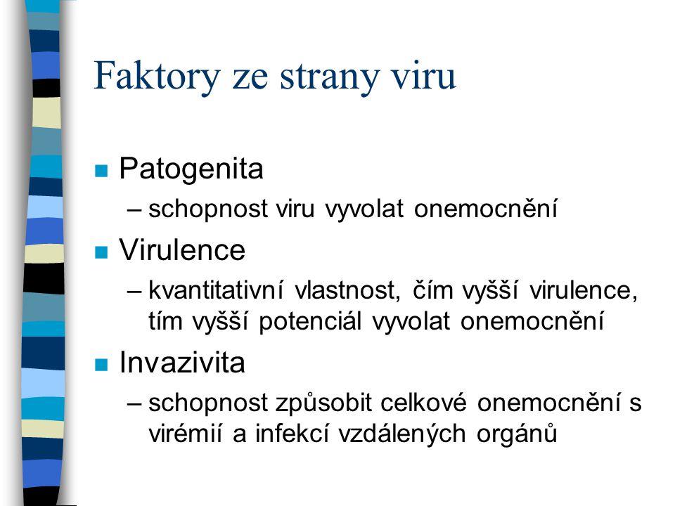 Faktory ze strany viru n Patogenita –schopnost viru vyvolat onemocnění n Virulence –kvantitativní vlastnost, čím vyšší virulence, tím vyšší potenciál