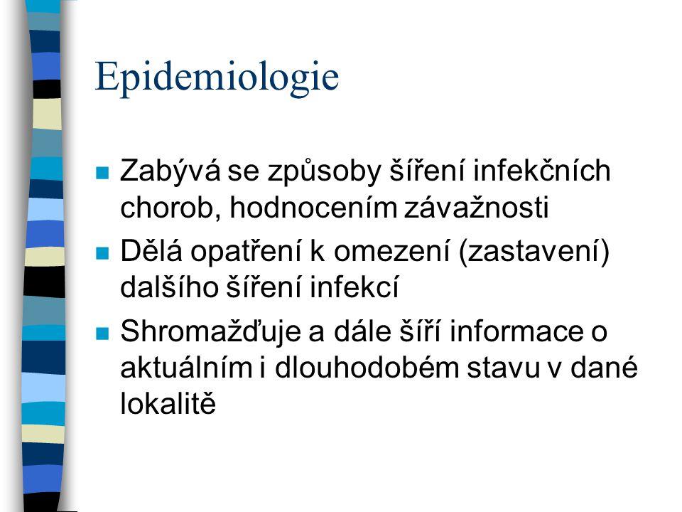 Základní epidemiologické pojmy n Morbidita –počet nemocných na 100 000 (nebo milion) obyvatel n Mortalita –úmrtnost - počet zemřelých na počet obyvatel –smrtnost - počet zemřelých na počet nemocných