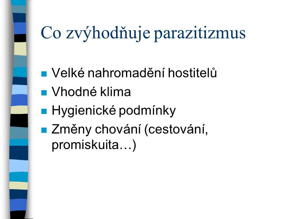 Co zvýhodňuje parazitizmus n Velké nahromadění hostitelů n Vhodné klima n Hygienické podmínky n Změny chování (cestování, promiskuita…)