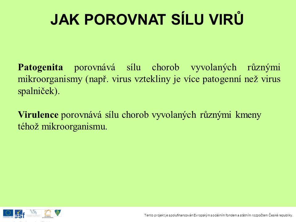 Tento projekt je spolufinancován Evropským sociálním fondem a státním rozpočtem České republiky. Investice do rozvoje vzdělávání Patogenita porovnává