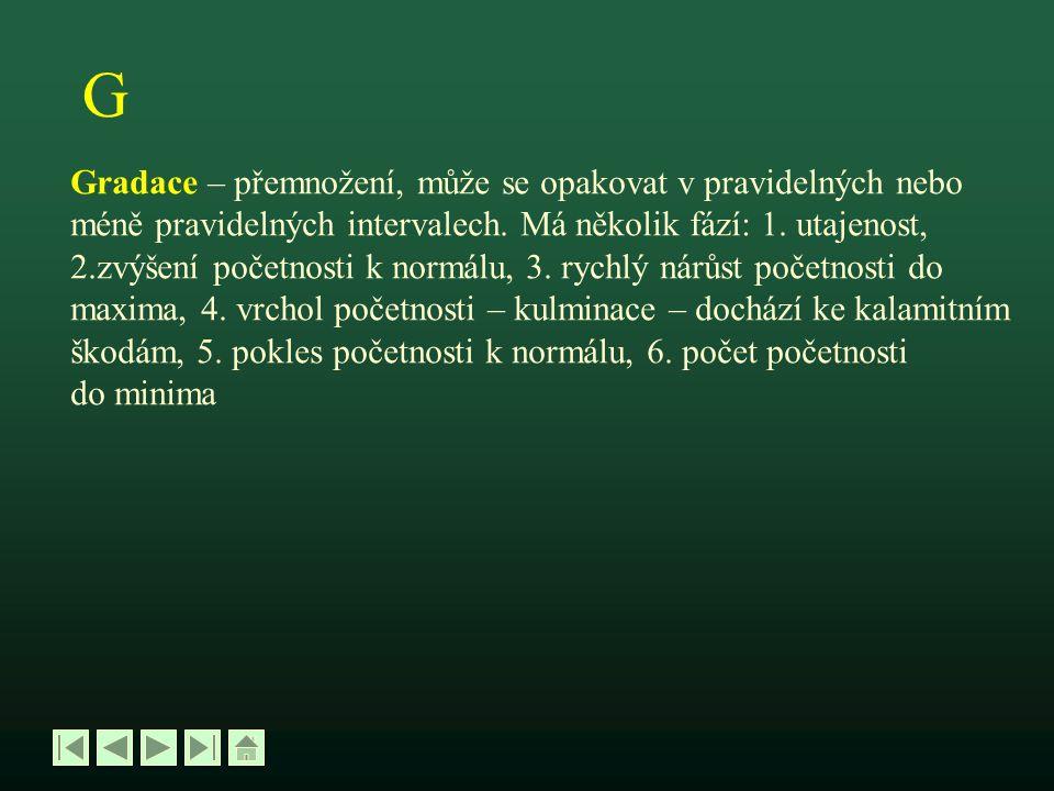 H Hálka – cecidie – útvar vzniklý z rostlinných pletiv při sání hmyzucecidie vlivem dráždivých účinků výměsků slinných žláz hmyzu (např.