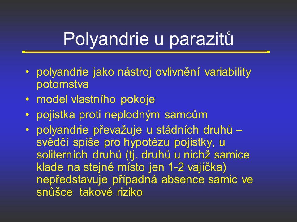 Polyandrie u parazitů polyandrie jako nástroj ovlivnění variability potomstva model vlastního pokoje pojistka proti neplodným samcům polyandrie převaž
