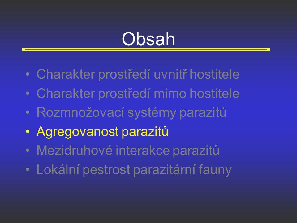 Obsah Charakter prostředí uvnitř hostitele Charakter prostředí mimo hostitele Rozmnožovací systémy parazitů Agregovanost parazitů Mezidruhové interakc
