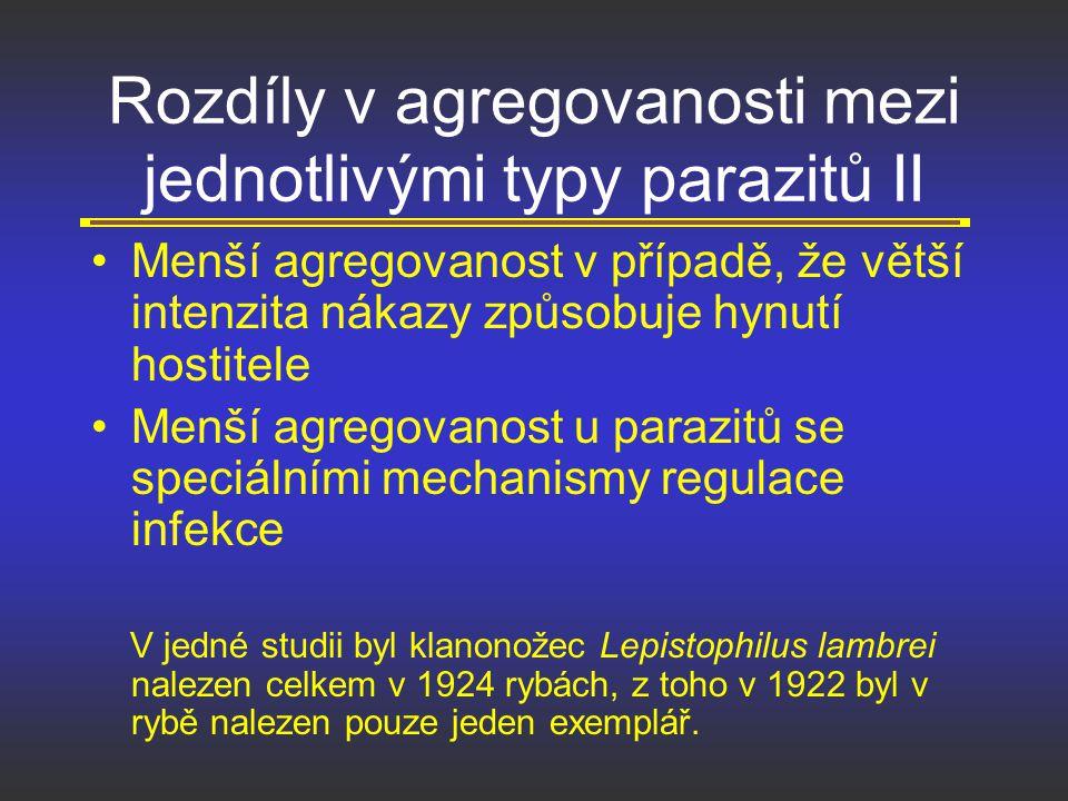Rozdíly v agregovanosti mezi jednotlivými typy parazitů II Menší agregovanost v případě, že větší intenzita nákazy způsobuje hynutí hostitele Menší ag