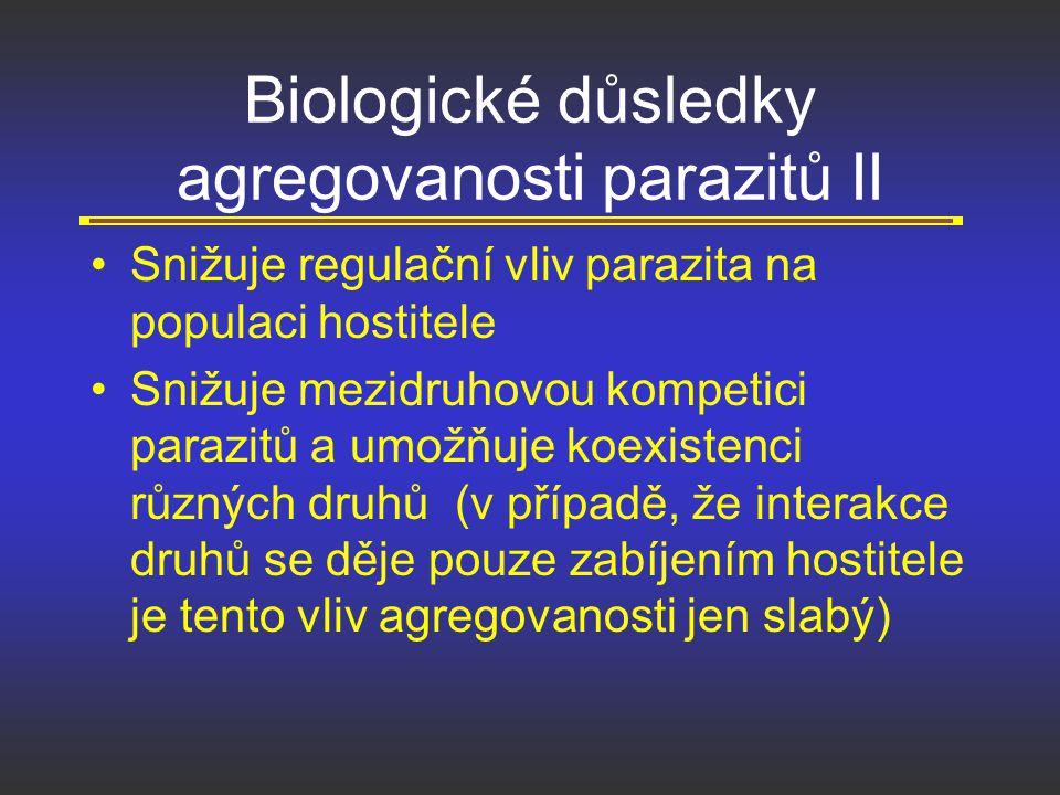 Biologické důsledky agregovanosti parazitů II Snižuje regulační vliv parazita na populaci hostitele Snižuje mezidruhovou kompetici parazitů a umožňuje