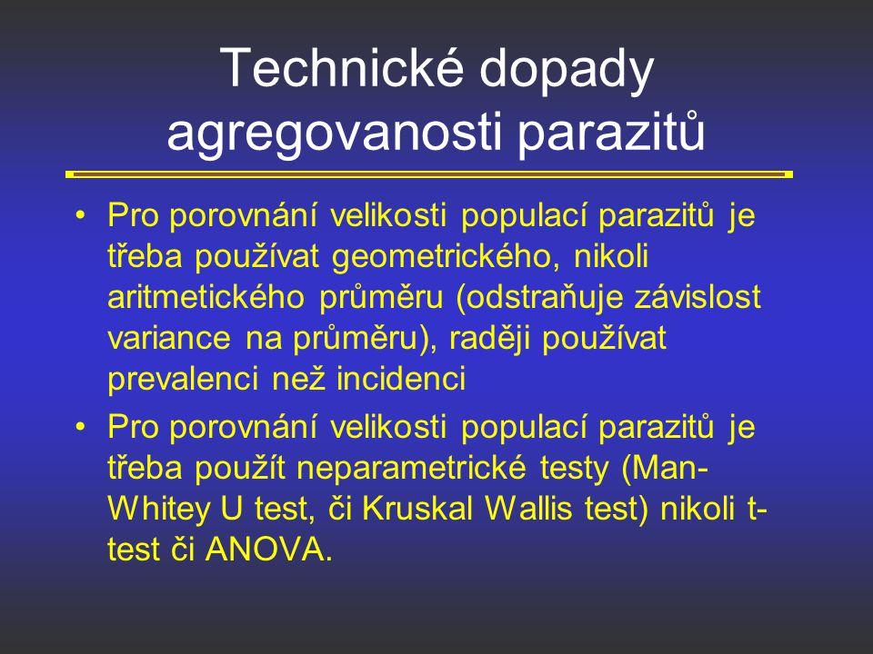 Technické dopady agregovanosti parazitů Pro porovnání velikosti populací parazitů je třeba používat geometrického, nikoli aritmetického průměru (odstr