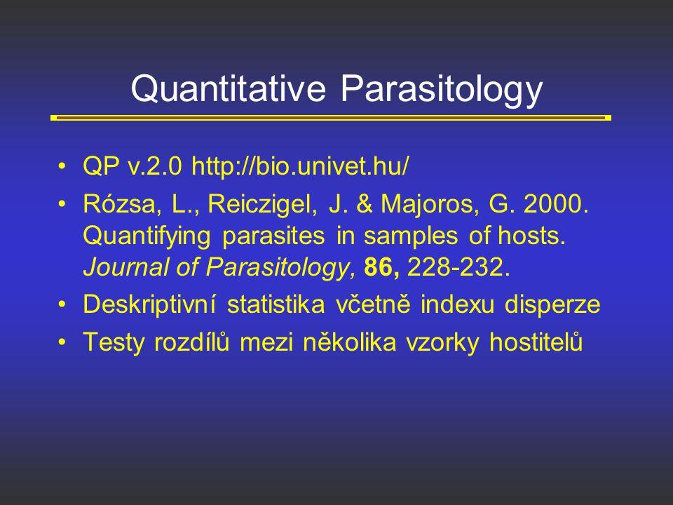 Quantitative Parasitology QP v.2.0 http://bio.univet.hu/ Rózsa, L., Reiczigel, J. & Majoros, G. 2000. Quantifying parasites in samples of hosts. Journ