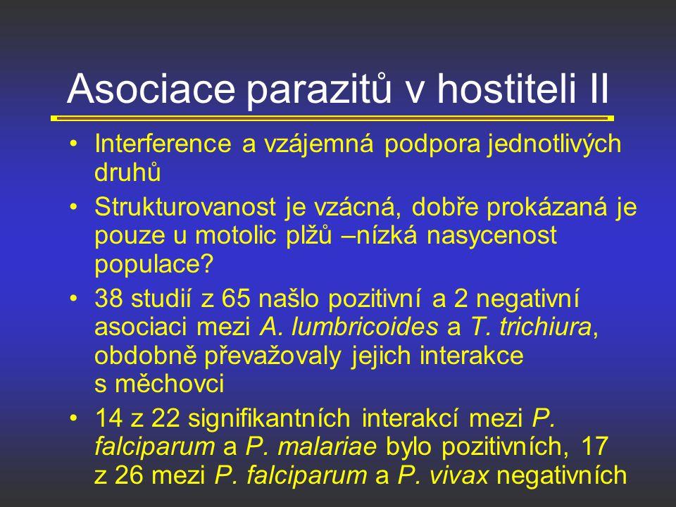 Asociace parazitů v hostiteli II Interference a vzájemná podpora jednotlivých druhů Strukturovanost je vzácná, dobře prokázaná je pouze u motolic plžů
