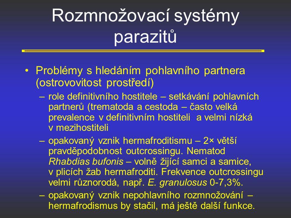 Rozmnožovací systémy parazitů Problémy s hledáním pohlavního partnera (ostrovovitost prostředí) –role definitivního hostitele – setkávání pohlavních p