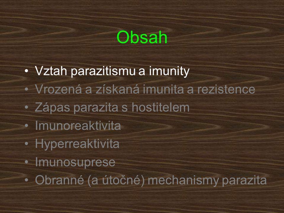Obsah Vztah parazitismu a imunity Vrozená a získaná imunita a rezistence Zápas parazita s hostitelem Imunoreaktivita Hyperreaktivita Imunosuprese Obranné (a útočné) mechanismy parazita