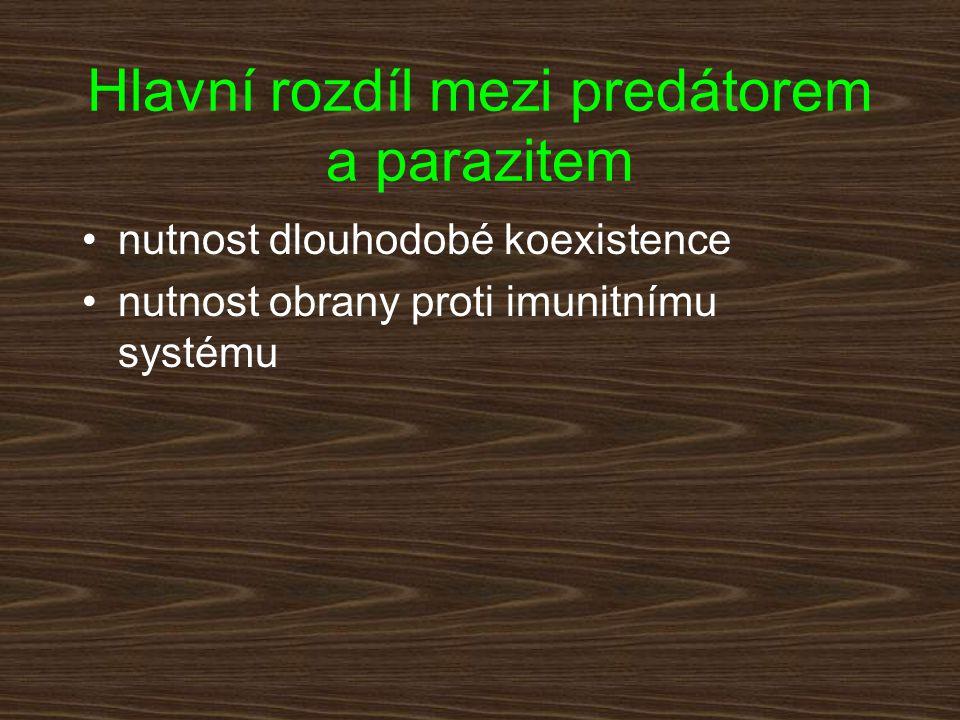 Imunizace jedince Časté případy premunice Nápadně často mění parazit po proniknutí do hostitele své povrchové antigeny Možná úloha symbiotických mikroorganismů Rozdíly ve strategiích parazita v závislosti na jeho životním cyklu