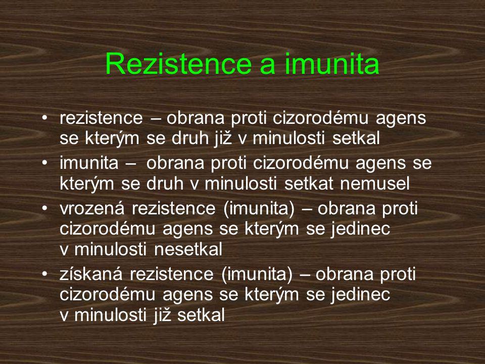 Rezistence a imunita II provázanost mechanismů rezistence a imunity (např.