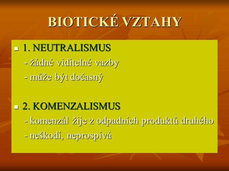 BIOTICKÉ VZTAHY 1.NEUTRALISMUS 1.