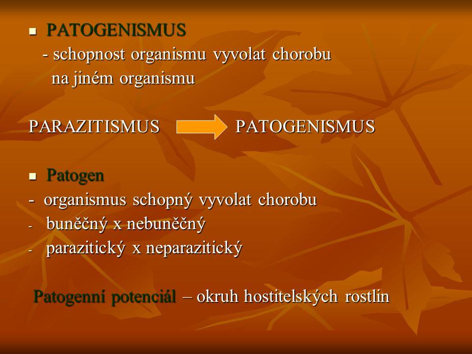PATOGENISMUS PATOGENISMUS - schopnost organismu vyvolat chorobu - schopnost organismu vyvolat chorobu na jiném organismu na jiném organismu PARAZITISMUS PATOGENISMUS Patogen Patogen - organismus schopný vyvolat chorobu - buněčný x nebuněčný - parazitický x neparazitický Patogenní potenciál – okruh hostitelských rostlin Patogenní potenciál – okruh hostitelských rostlin