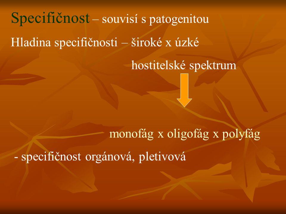 Specifičnost – souvisí s patogenitou Hladina specifičnosti – široké x úzké hostitelské spektrum monofág x oligofág x polyfág - specifičnost orgánová, pletivová