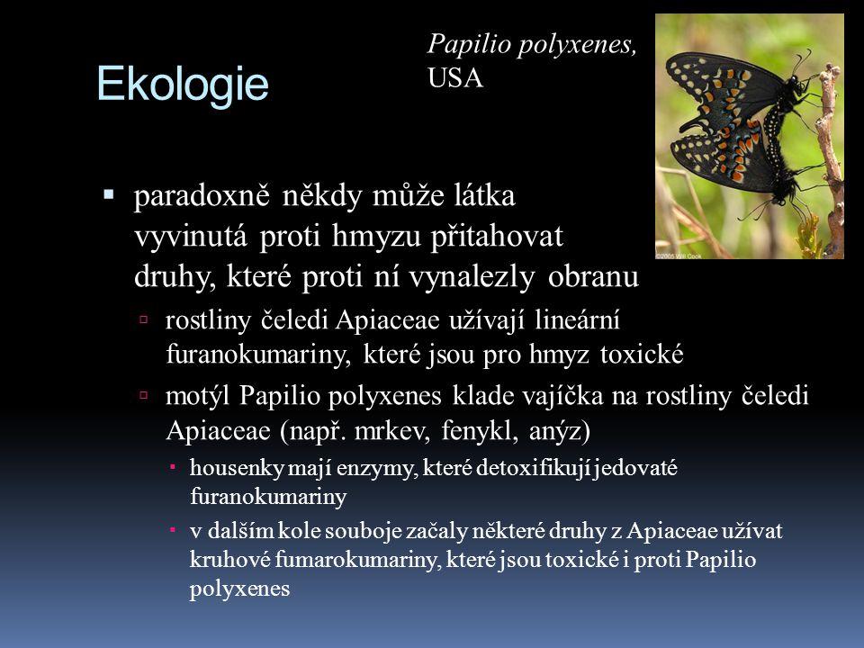 Ekologie  paradoxně někdy může látka vyvinutá proti hmyzu přitahovat druhy, které proti ní vynalezly obranu  rostliny čeledi Apiaceae užívají lineár