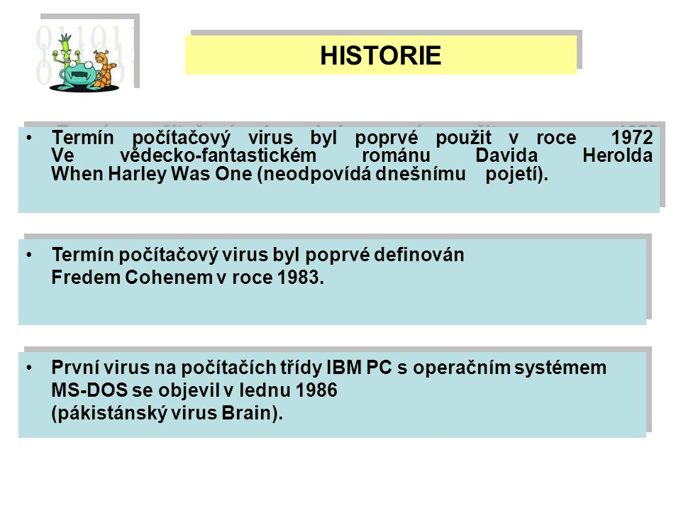 Termín počítačový virus byl poprvé použit v roce 1972 Ve vědecko-fantastickém románu Davida Herolda When Harley Was One (neodpovídá dnešnímu pojetí).