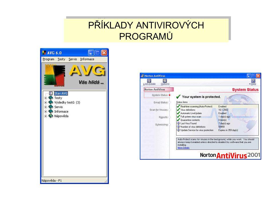 ANTIVIROVÉ PROGRAMY slouží k detekci a odstranění počítačových virů a prevenci proti případné nákaze je třeba provádět jejich pravidelnou aktualizaci