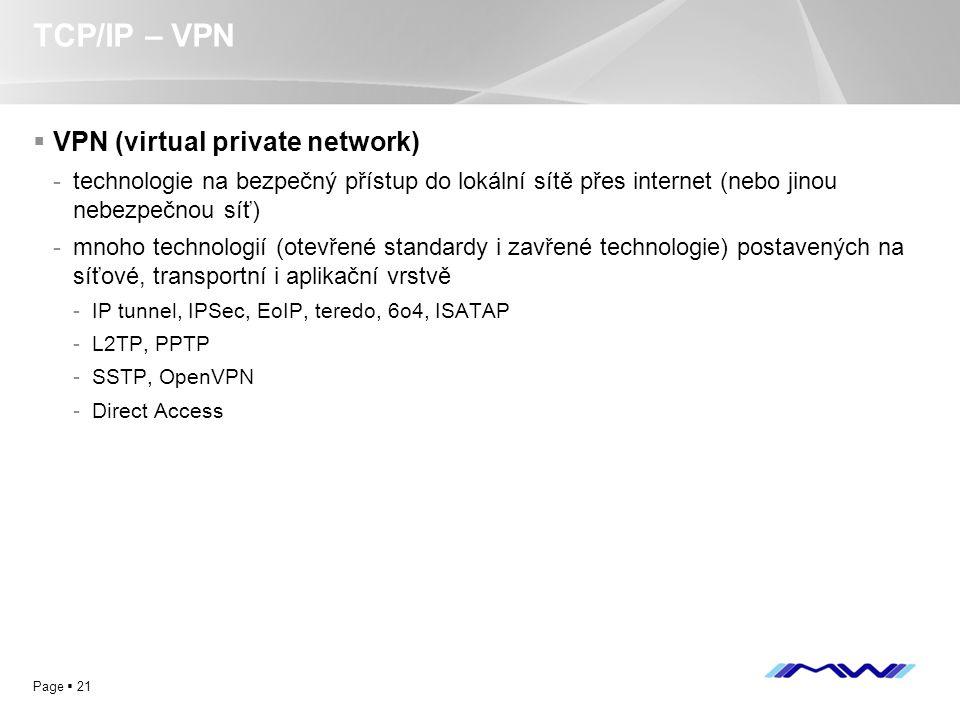 YOUR LOGO Page  21 TCP/IP – VPN  VPN (virtual private network) -technologie na bezpečný přístup do lokální sítě přes internet (nebo jinou nebezpečno